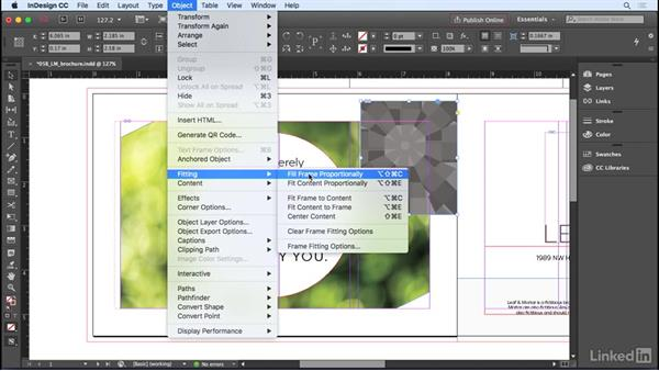 Cropping and fitting graphics to the frame: InDesign CC 2017 Essential Training