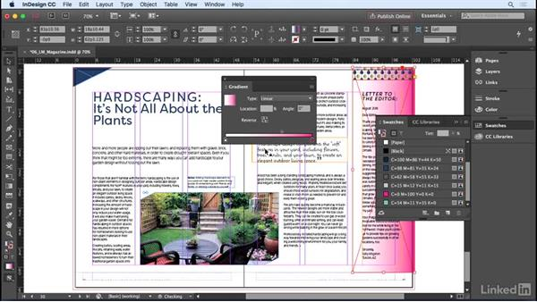 Creating and applying gradient swatches: InDesign CC 2017 Essential Training