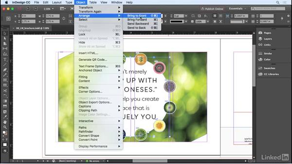 Moving objects above or below each other: InDesign CC 2017 Essential Training