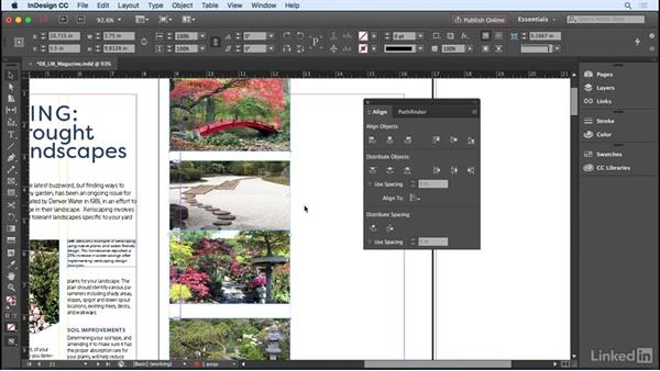 Aligning, distributing, and grouping: InDesign CC 2017 Essential Training