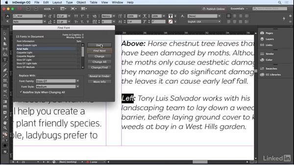 Using Find Font: InDesign CC 2017 Essential Training