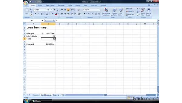 Avoiding common mistakes: Excel 2007: Financial Analysis