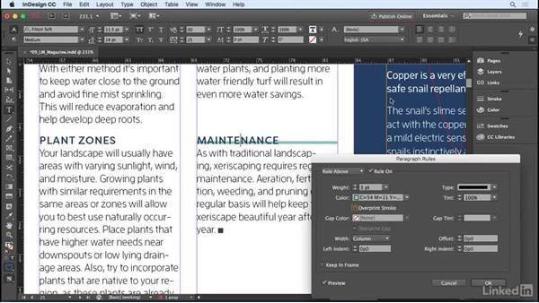 Adding rules, or lines, above or below a paragraph: InDesign CC 2017 Essential Training