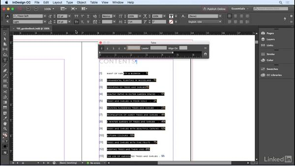 Setting tabs and tab stops: InDesign CC 2017 Essential Training