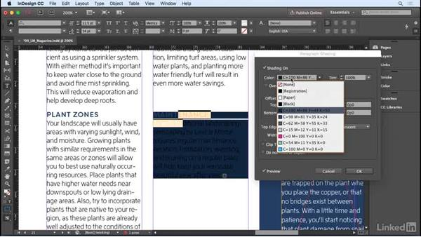 Shading paragraphs and boxes: InDesign CC 2017 Essential Training