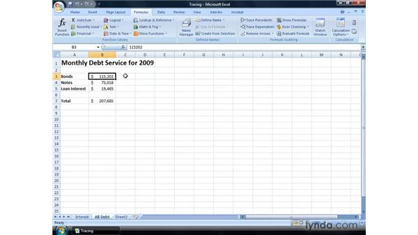 Tracing formula precedents and dependents: Excel 2007: Financial Analysis