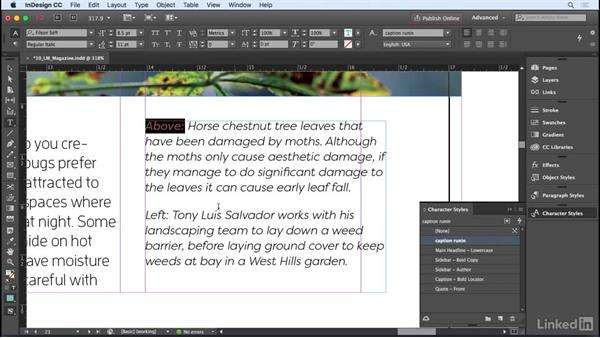 Using character styles: InDesign CC 2017 Essential Training