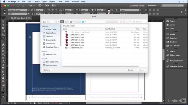 Creating a table: InDesign CC 2017 Essential Training
