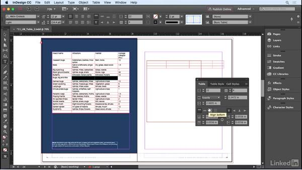 Adjusting rows and columns: InDesign CC 2017 Essential Training