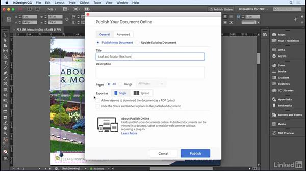 Exporting to the web with Publish Online: InDesign CC 2017 Essential Training