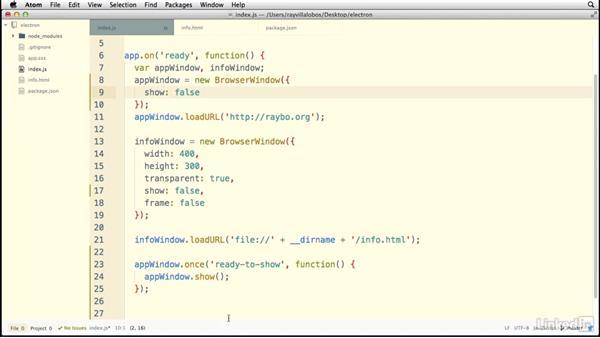 Managing window events: Electron: Building Cross Platform Desktop Apps