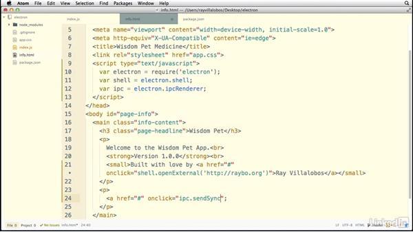 Communicating between processes: Electron: Building Cross Platform Desktop Apps