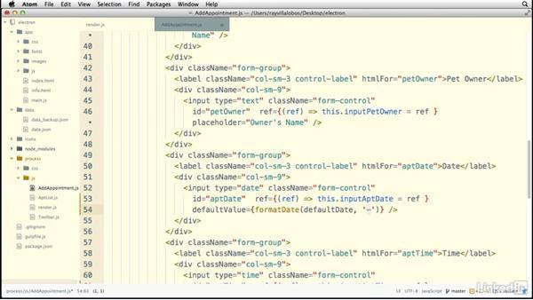Managing form values: Electron: Building Cross Platform Desktop Apps