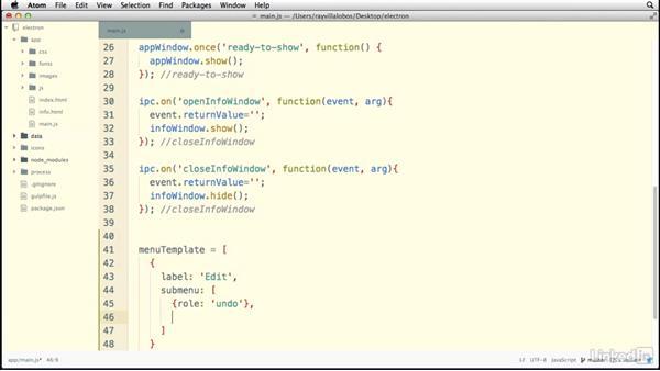 Creating custom menus: Electron: Building Cross Platform Desktop Apps