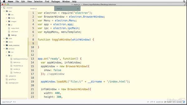 Controlling the main process with menus: Electron: Building Cross Platform Desktop Apps