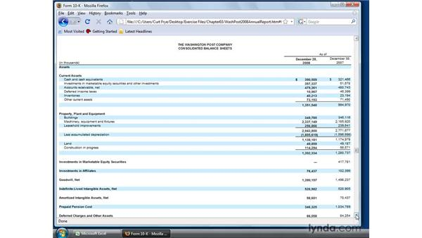 Reading a corporate financial statement: Excel 2007: Financial Analysis