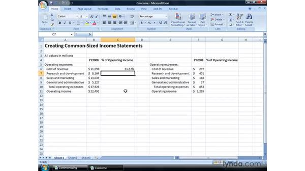 Creating common-sized income statements: Excel 2007: Financial Analysis