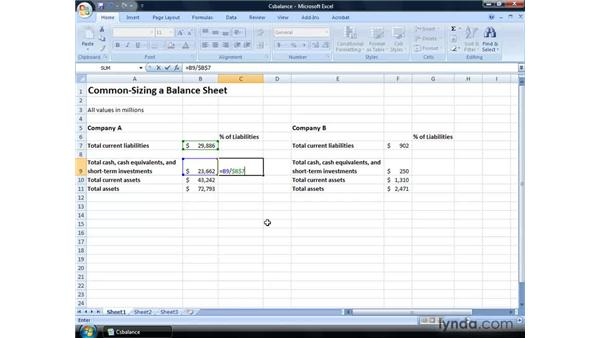 Creating common-sized balance sheets: Excel 2007: Financial Analysis