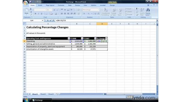 Calculating percentage changes in financial statements: Excel 2007: Financial Analysis