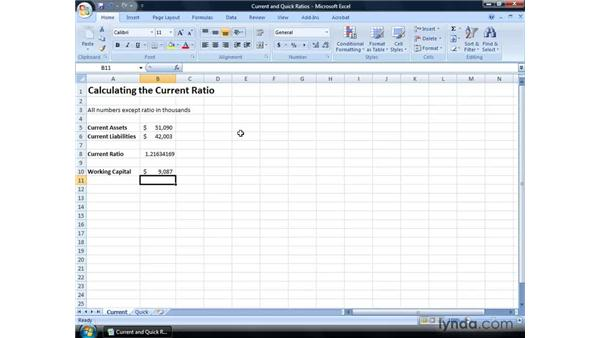 Calculating the current ratio and quick ratio: Excel 2007: Financial Analysis