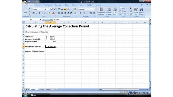 Calculating the average collection period: Excel 2007: Financial Analysis