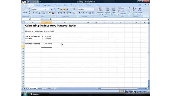 Calculating inventory turnover: Excel 2007: Financial Analysis