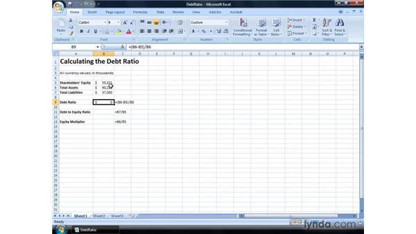 Calculating the debt ratio: Excel 2007: Financial Analysis