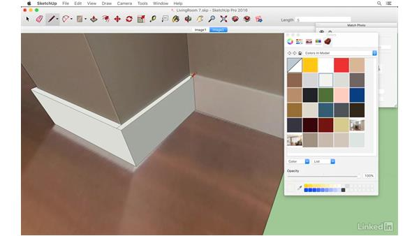 Adding baseboard trim and cover plates: SketchUp: Modeling from Photos