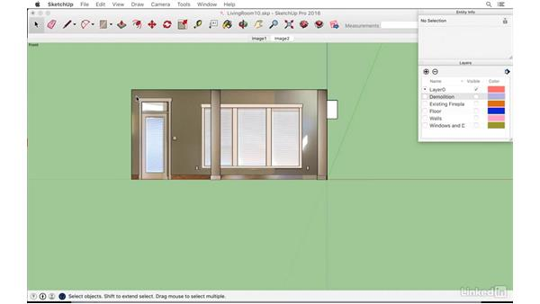 Partitioning the model into layers: SketchUp: Modeling from Photos