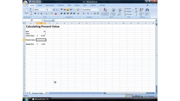 Calculating present value: Excel 2007: Financial Analysis
