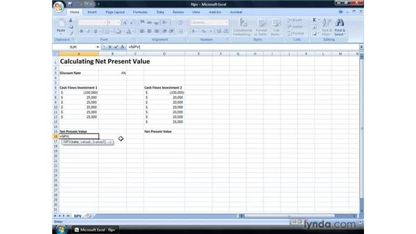Calculating net present value: Excel 2007: Financial Analysis