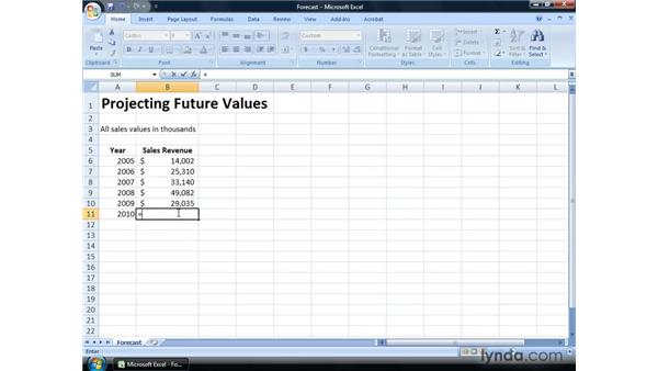 Projecting future results using the Forecast function: Excel 2007: Financial Analysis