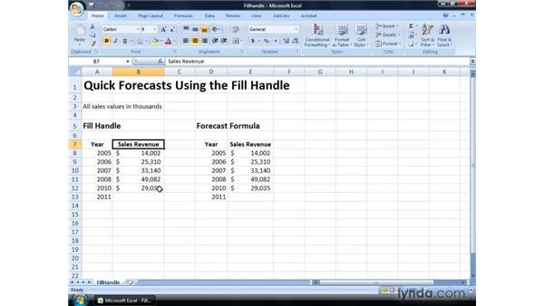 Performing quick forecasts using the Fill handle: Excel 2007: Financial Analysis