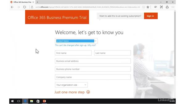 Set up Office 365 trial: Office 365: Provision Office 365