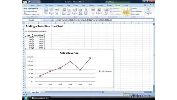 Adding a trendline to a chart: Excel 2007: Financial Analysis