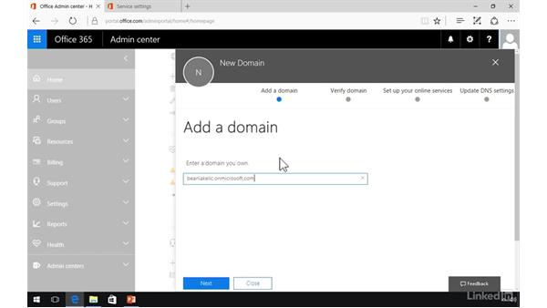 Specify the domain name: Office 365: Provision Office 365