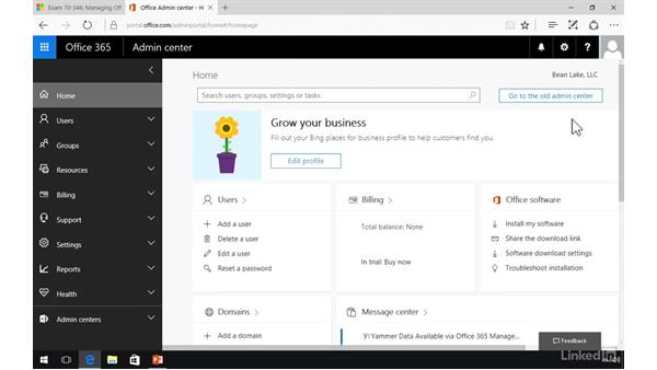 Set the default domain: Office 365: Provision Office 365