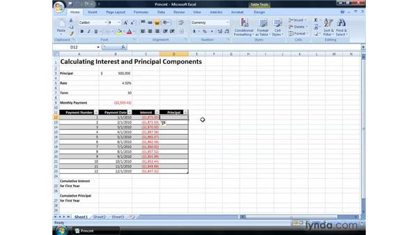 Calculating interest and principal components of loan repayments: Excel 2007: Financial Analysis