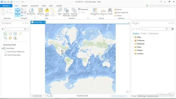 Navigate around the map: ArcGIS Pro Essential Training