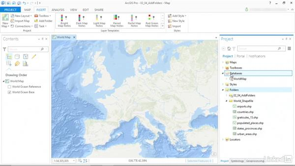 Connect folders and data to the project: ArcGIS Pro Essential Training