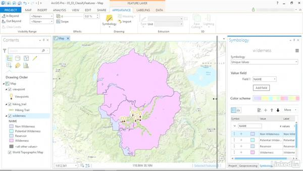 Classify features by their values: ArcGIS Pro Essential Training
