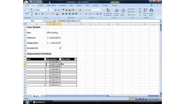Calculating double declining balance depreciation: Excel 2007: Financial Analysis