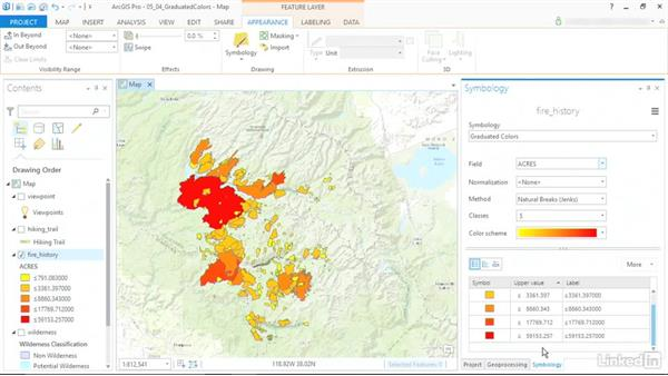 Visualize data with graduated colors: ArcGIS Pro Essential Training