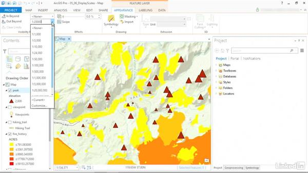 Display features at specific scales: ArcGIS Pro Essential Training