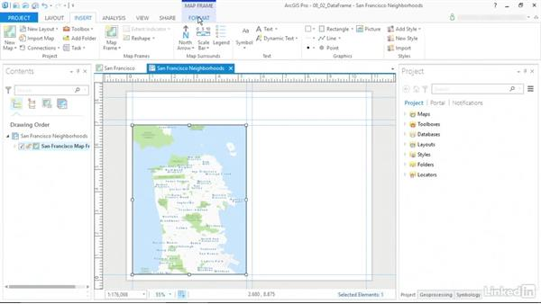 Add frames to the layout: ArcGIS Pro Essential Training