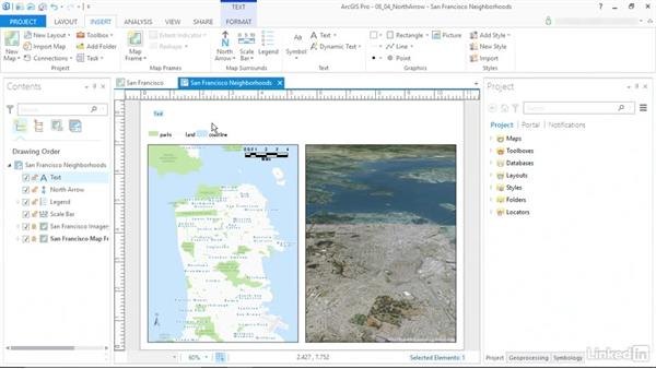 Add north arrows and titles: ArcGIS Pro Essential Training