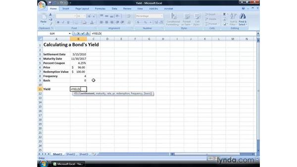 Calculating a bond's yield: Excel 2007: Financial Analysis
