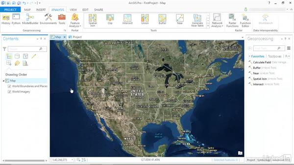 The new Ribbon interface (continued): ArcGIS Pro Essential Training