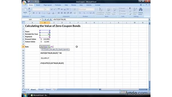 Calculating the value of zero coupon bonds: Excel 2007: Financial Analysis