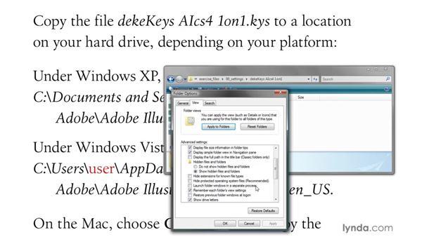 Installing the dekeKeys keyboard shortcuts: Illustrator CS4 One-on-One: Mastery